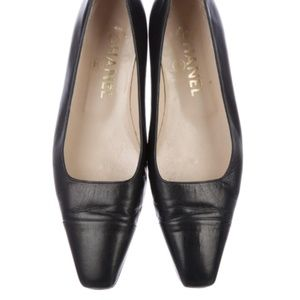 Chanel (Rare) 90s Vintage Square Toed Ballet Flats